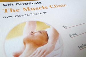 Muscle Clinic massage gift voucher